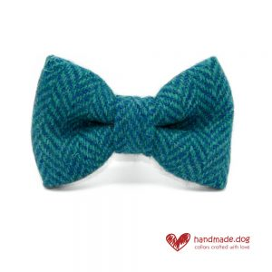 Handmade Turquoise Herringbone 'Harris Tweed' Dog Dickie Bow