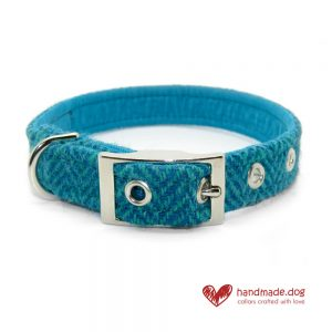 Handmade Turquoise Herringbone 'Harris Tweed' Dog Collar