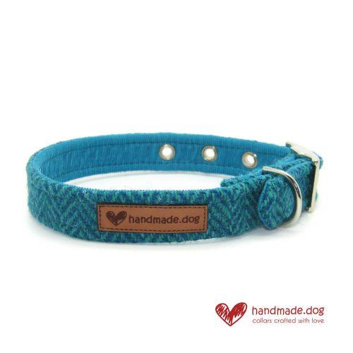 Handmade Turquoise Herringbone 'Harris Tweed' Dog Collar