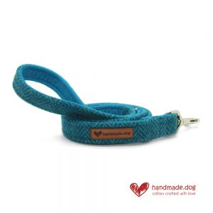 Handmade Turquoise Herringbone 'Harris Tweed' Dog Lead