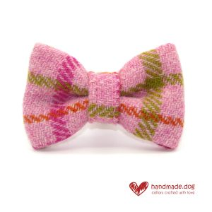 Handmade Pink Check 'Harris Tweed' Dog Dickie Bow