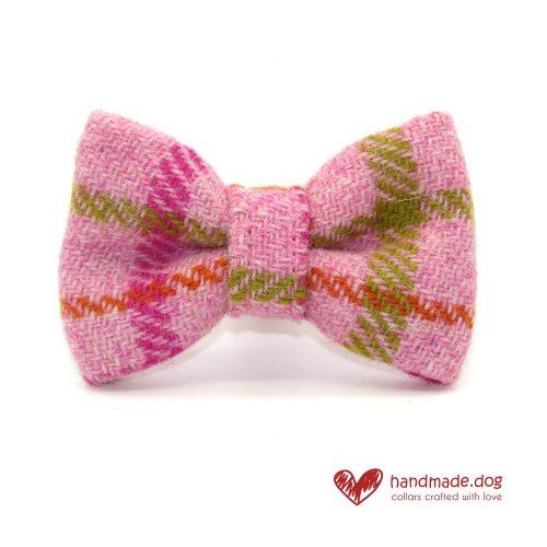 Handmade Pink Check 'Harris Tweed' Dog Dickie Bow