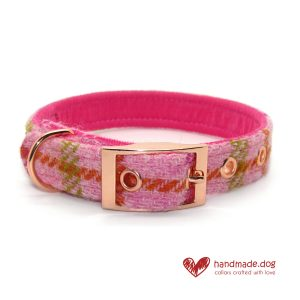 Handmade Pink Check 'Harris Tweed' Dog Collar