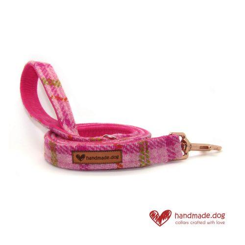 Handmade Pink Check 'Harris Tweed' Dog Lead