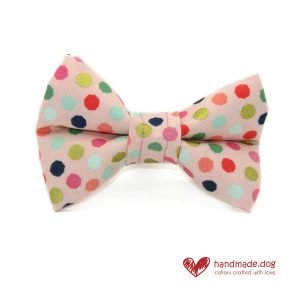 Handmade Pink Multi Spot Dog Dickie Bow