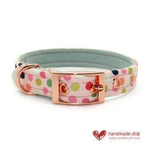 Handmade Pink Multi Spot Dog Collar
