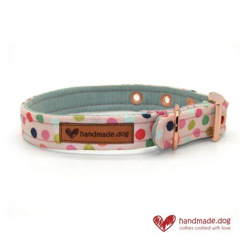 Handmade Pink Multi Spot Dog Collar