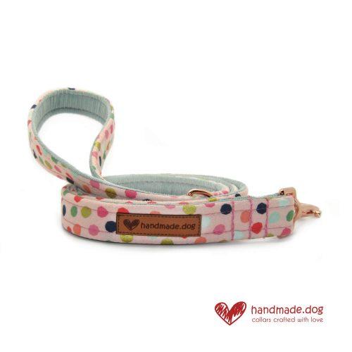 Handmade Pink Multi Spot Dog Lead