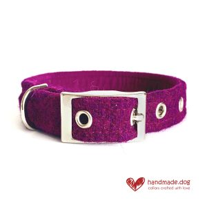 Handmade Rich Plumb 'Harris Tweed' Dog Collar