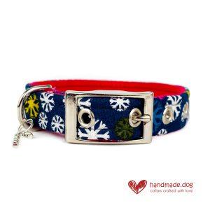 Handmade Blue Multicoloured Snowflake Dog Collar