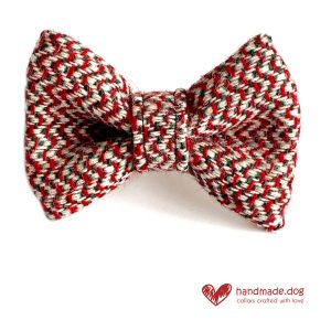 Handmade Red White and Green Christmas 'Harris Tweed' Dog Dickie Bow