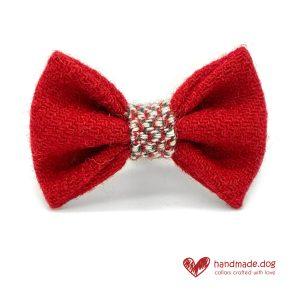 Handmade Christmas Limited Edition 'Harris Tweed' 'Red Noel' Dog Dickie Bow