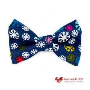 Handmade Fabric Snowflake Dog Dickie Bow