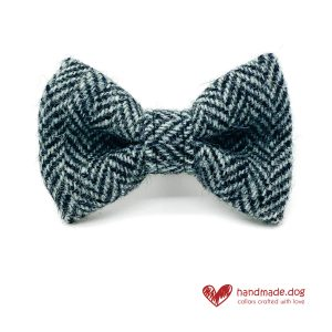 Handmade Black and Grey Herringbone 'Harris Tweed' Dog Dickie Bow