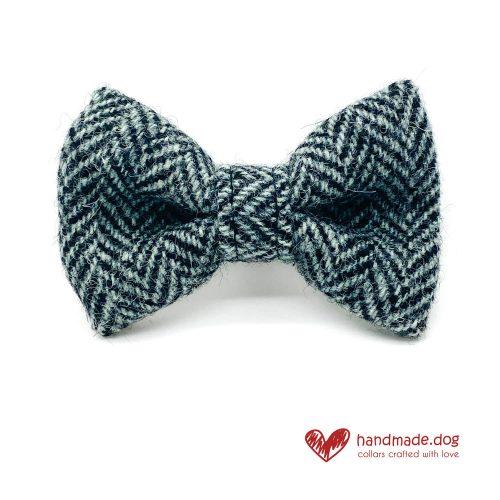 Handmade Black and Grey Herringbone 'Harris Tweed' Dog Dickie Bow
