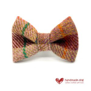 Handmade Brown Teal Check 'Harris Tweed' Dog Dickie Bow