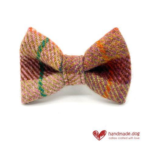 Handmade Brown Teal Check 'Harris Tweed' Dog Dickie Bow