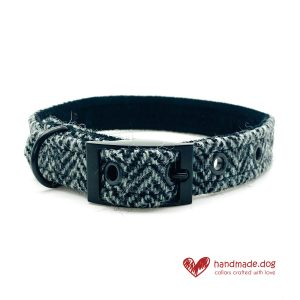 Handmade Black and Grey Herringbone 'Harris Tweed' Dog Collar