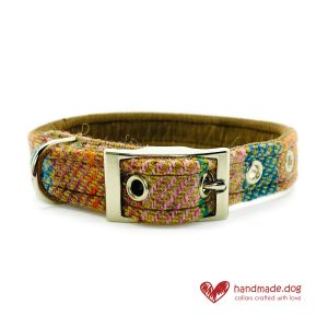Handmade Brown Teal Check 'Harris Tweed' Dog Collar