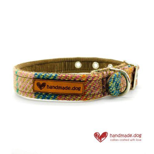 Handmade Brown Teal Check 'Harris Tweed' Dog Collar