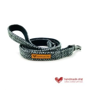 Handmade Black and Grey Herringbone 'Harris Tweed' Dog Lead