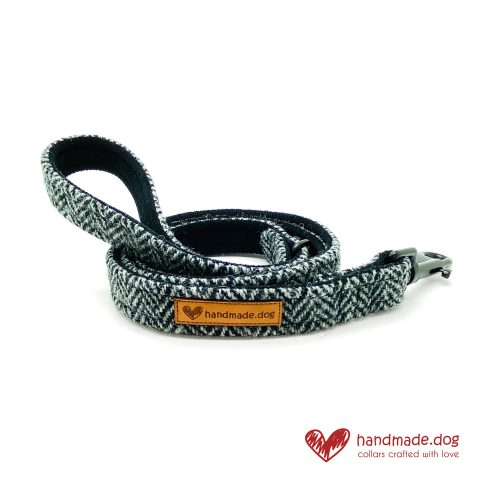 Handmade Black and Grey Herringbone 'Harris Tweed' Dog Lead