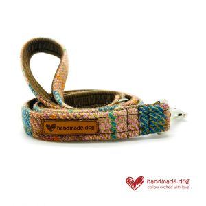 Handmade Brown Teal Check 'Harris Tweed' Dog Lead