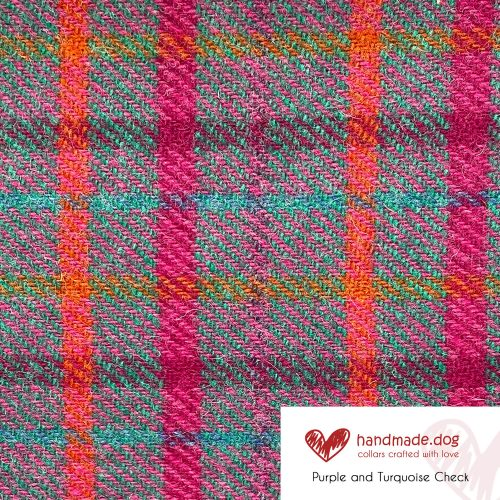Purple and Turquoise Check 'Harris Tweed'