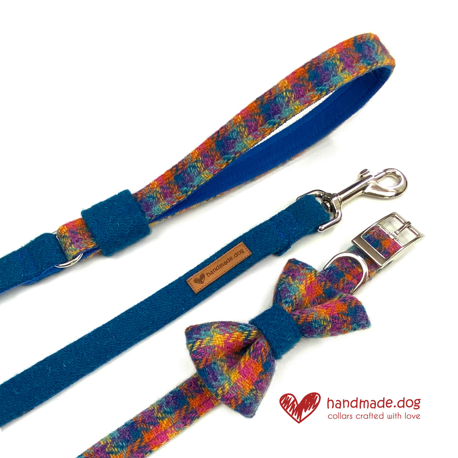 Limited Edition 'Harris Tweed' Havana Range including dog collar, dog lead and god dickie bow.