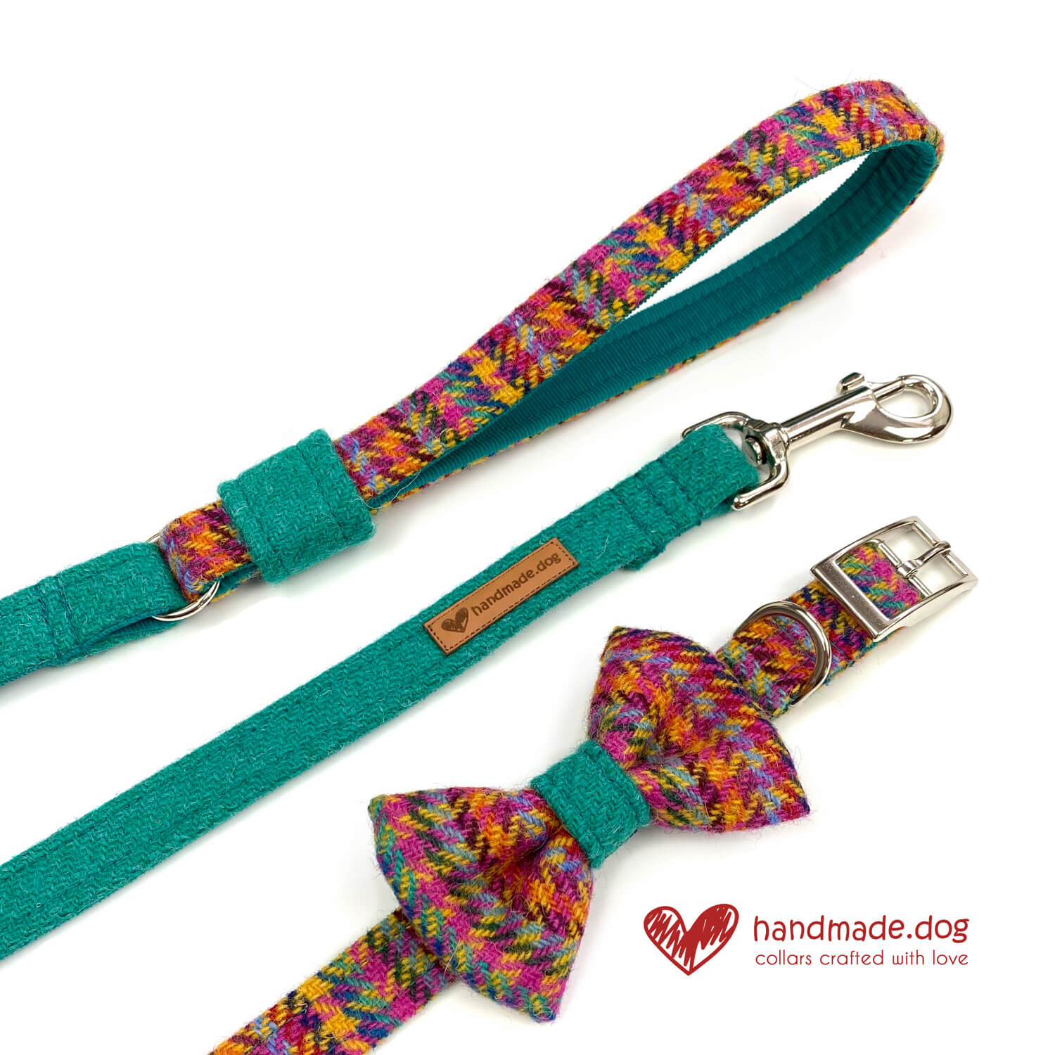 Limited Edition 'Harris Tweed' Rio Range including dog collar, dog lead and god dickie bow.