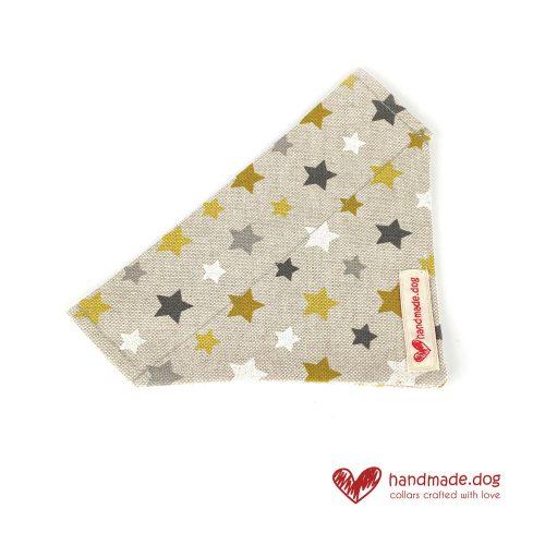 Handmade Yellow, Grey and White Stars Dog Bandana