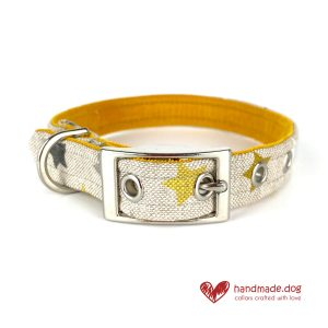 Handmade Yellow, Grey and White Stars Dog Collar