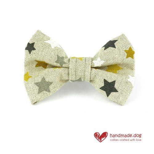 Handmade Yellow, Grey and White Stars Dog Dickie Bow