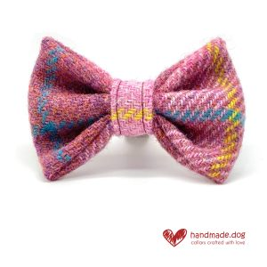 handmade.dog Raspberry Check 'Harris Tweed' Dickie Bow
