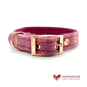 handmade.dog Raspberry Check 'Harris Tweed' Dog Collar