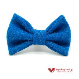 Handmade Electric Blue 'Harris Tweed' Dog Dickie Bow