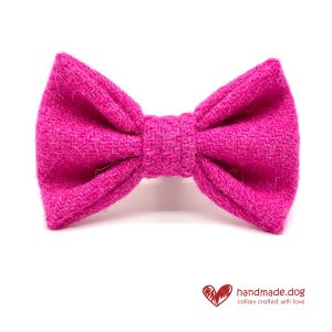 Handmade Shocking Pink 'Harris Tweed' Dog Dickie Bow