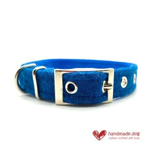 Handmade Electric Blue 'Harris Tweed' Dog Collar