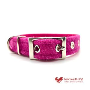 Handmade Shocking Pink 'Harris Tweed' Dog Collar