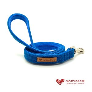 Handmade Electric Blue 'Harris Tweed' Dog Lead