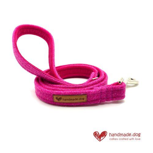 Handmade Shocking Pink 'Harris Tweed' Dog Lead
