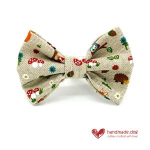 Handmade Woodland Friends Fabric Dog Dickie Bow