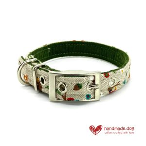Handmade Woodland Friends Fabric Dog Collar