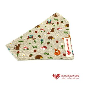 Handmade Woodland Friends Fabric Dog Bandana
