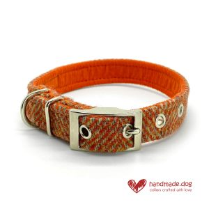 Handmade Amber Herringbone 'Harris Tweed' Dog Collar