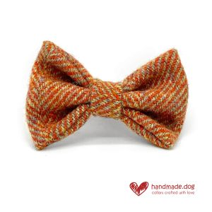 Handmade Amber Herringbone 'Harris Tweed' Dog Dickie Bow