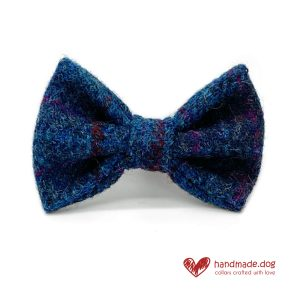 Handmade Dark Blue Check 'Harris Tweed' Dog Dickie Bow