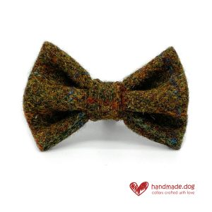 Handmade Moss green 'Harris Tweed' Dog Dickie Bow