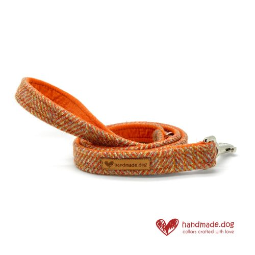 Handmade Amber Herringbone 'Harris Tweed' Dog Lead