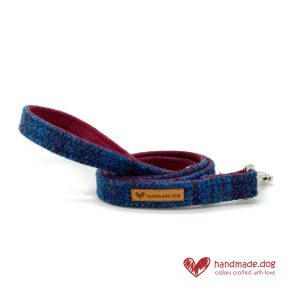 Handmade Dark Blue Check 'Harris Tweed' Dog Lead